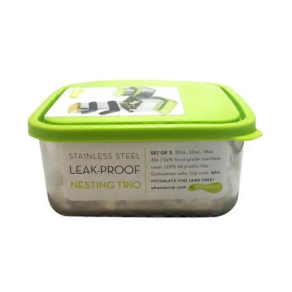 U Konserve Lime Square Stainless Steel Storage Containers 3 ct