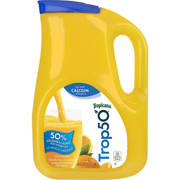 Tropicana Trop50 Juice Beverage Orange No Pulp with Calcium and Vitamin D