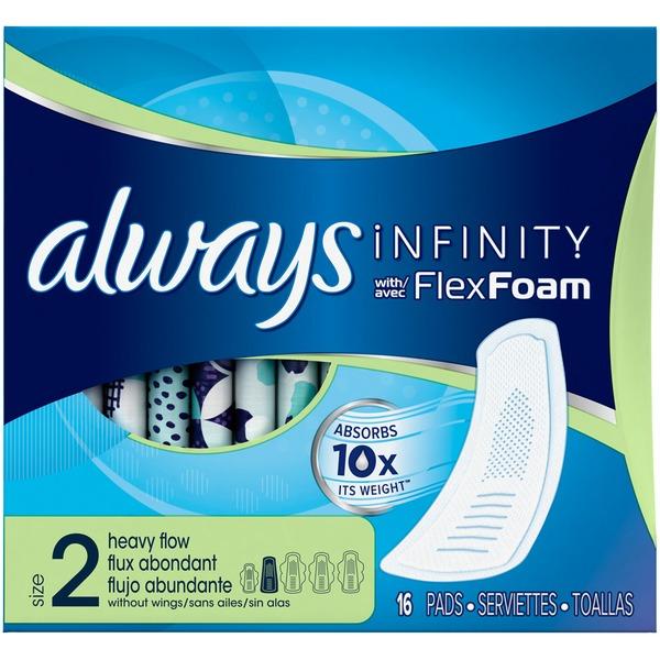 Always Infinity Size 2 Heavy Flow with Flex Foam Pads from