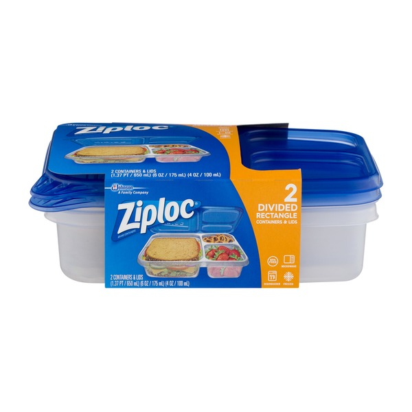 Ziploc Divided Rectangle Containers Lids From Albertsons