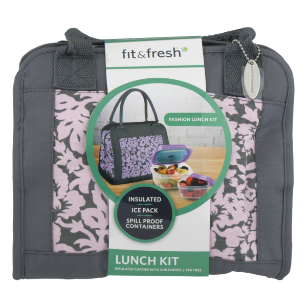 NEW Fit /& Fresh Fashion Lunch Bag Kit Insulated spill proof containers BPA-FREE