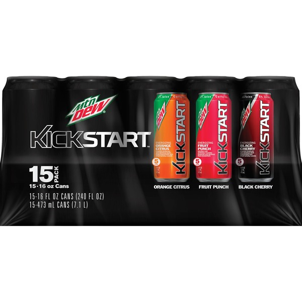 Mtn Dew Kickstart Variety Fruit Punch Orance Citrus Black Cherry