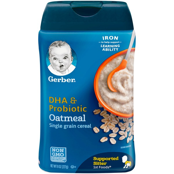 gerber cereal dha probiotic oatmeal gerber 1st foods dha probiotic oatmeal single grain cereal