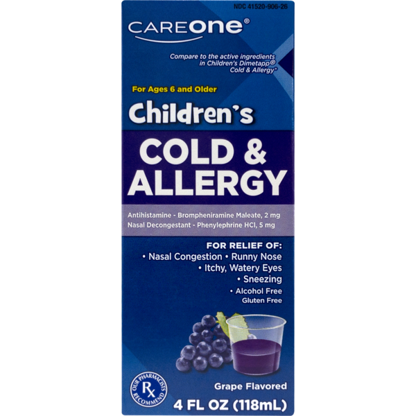 Careone Children S Cold Allergy Grape 4 Fl Oz From Food