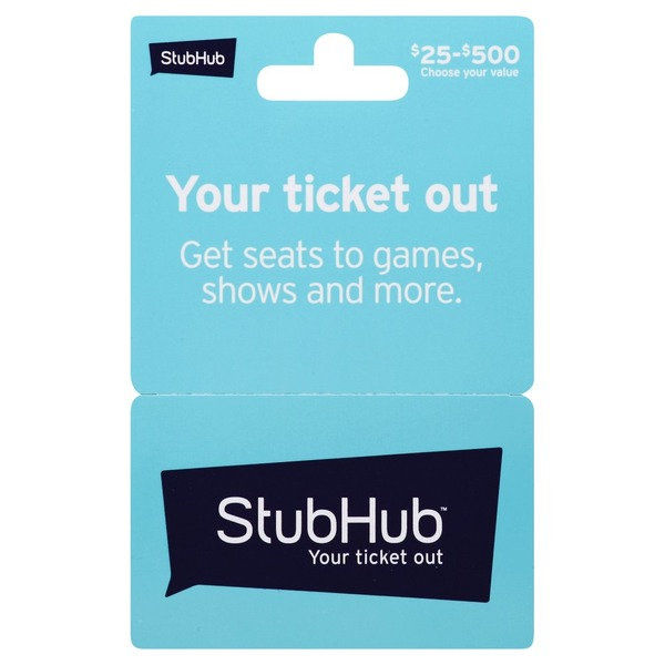 Stub Hub Gift Card, $25-$500