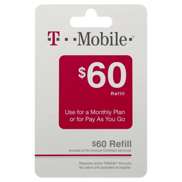 T Mobile Refill Card, $60 (1 each) from Tom Thumb - Instacart