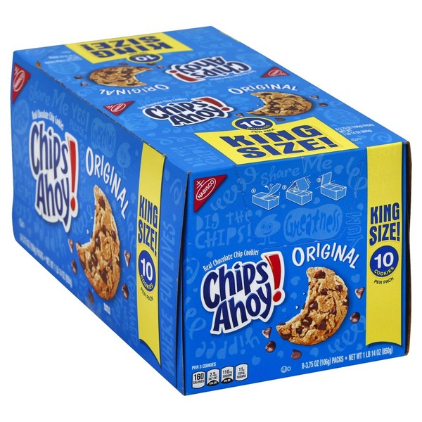 Chips Ahoy! Cookies, Chocolate Chip, Original, King Size (8