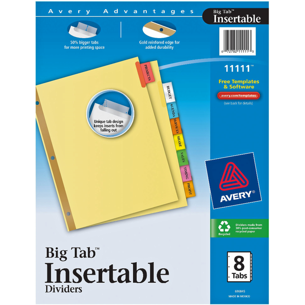 Avery Big Tab Insertable Dividers 8 Ct 80 Ct From Kroger