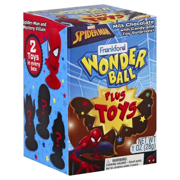 Frankford Milk Chocolate Wonder Ball Plus Toys Marvel Spider Man
