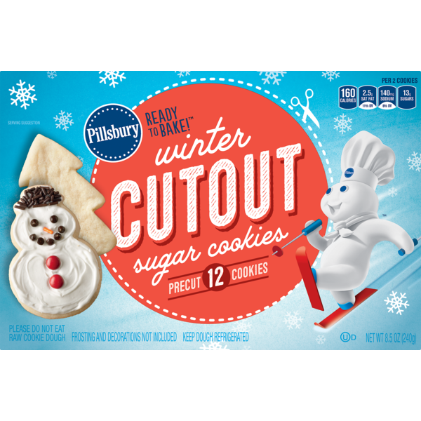 Pillsbury Ready To Bake Winter Cutout Sugar Cookies 8 5 Oz From
