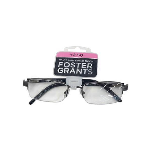 b87f86093b Foster Grant Cm 2.50 Diopter Satin Gun Men s Lyden Rectangular Reading  Glasses