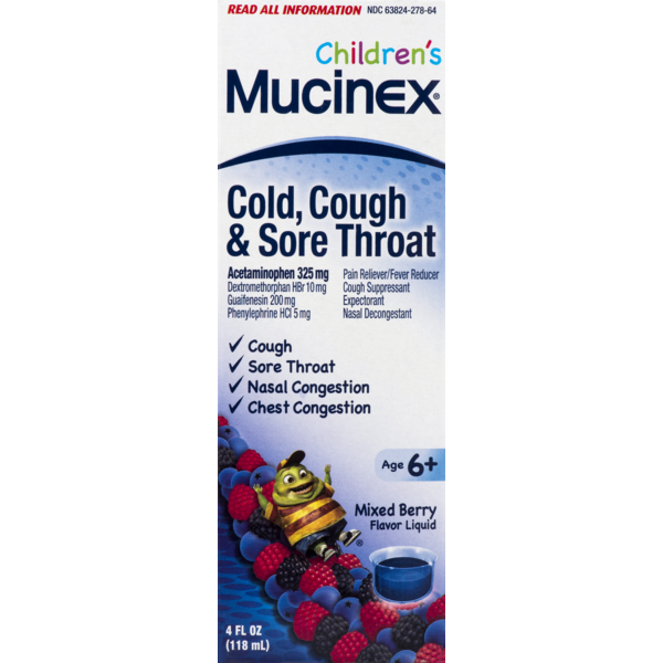 Children S Mucinex Cold Cough Sore Throat Mixed Berry