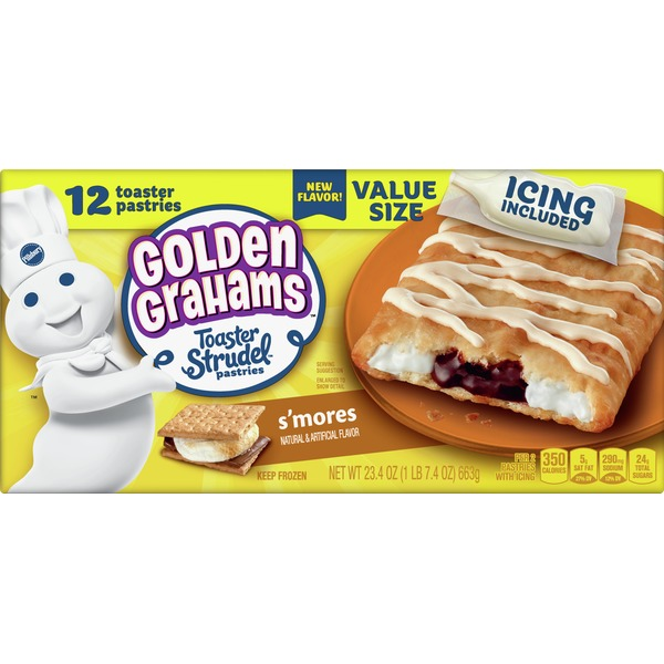Pillsbury Toaster Strudel Pastries, Golden Grahams, S' Mores, Value Size