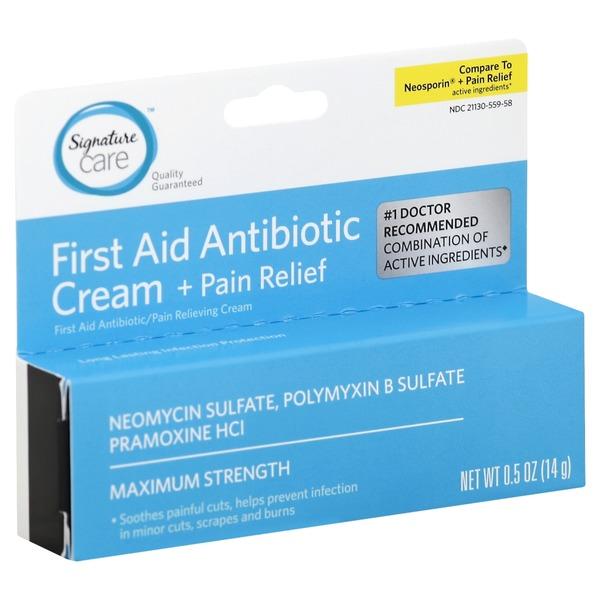 Signature Care First Aid Antibiotic Cream, + Pain Relief