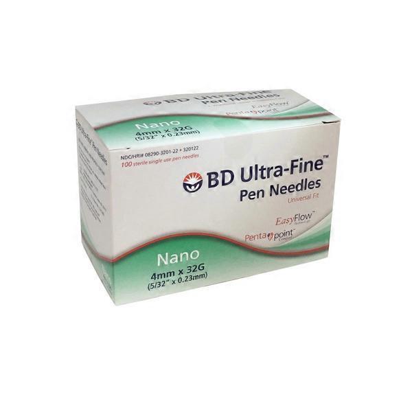 BD Ultra Fine Nano 4mm 32 Gauge Pen Needles (100 ct) from