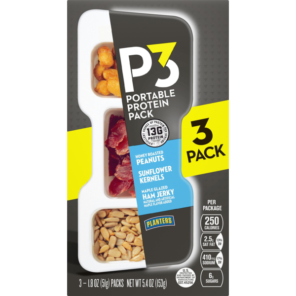 Planters P3 Portable Protein Pack Honey Roasted Peanuts Maple