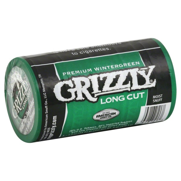 Grizzly Snuff, Moist, Long Cut, Premium Wintergreen (1 2 each) from