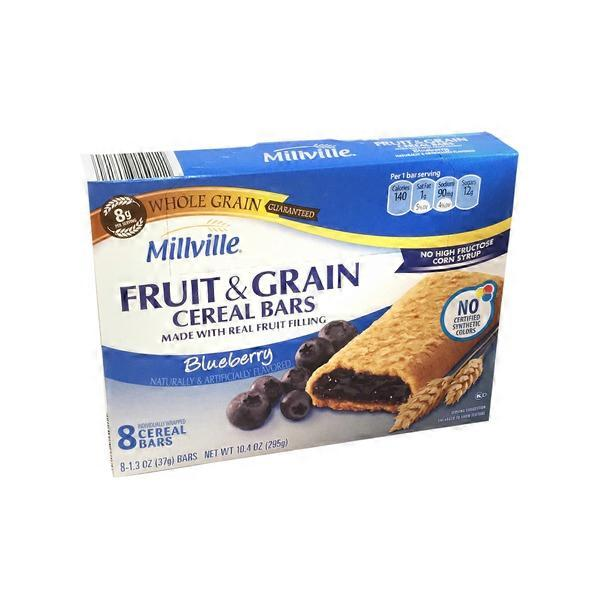 Millville Blueberry Fruit & Grain Cereal Bars (8 Ct) From