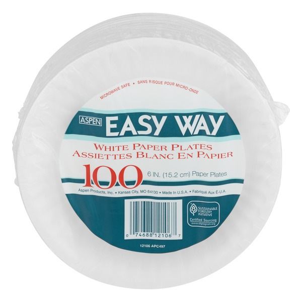 Aspen Easy Way White Paper Plates - 100 CT (100 ct) from