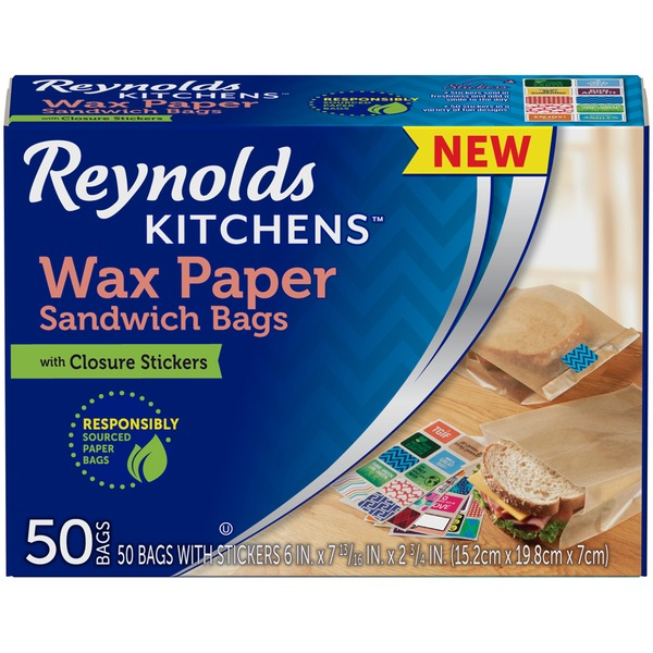 Marvelous Reynolds Kitchens Wax Paper With Closure Stickers Sandwich Bags