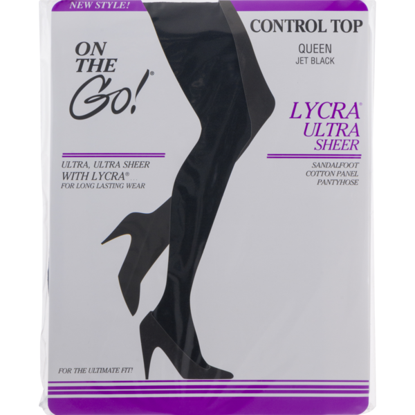 8ee195fbeab On the Go! Lycra Ultra Sheer Control Top Queen Jet Black (1 ct) from ...