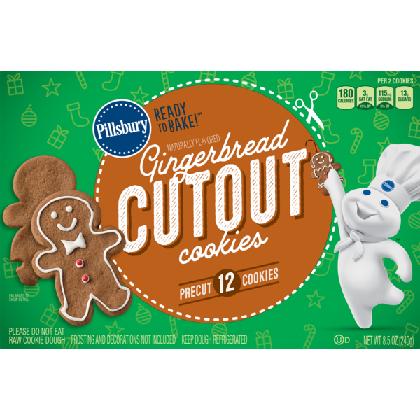 Pillsbury Ready To Bake Gingerbread Cutout Cookies 8 5 Oz From