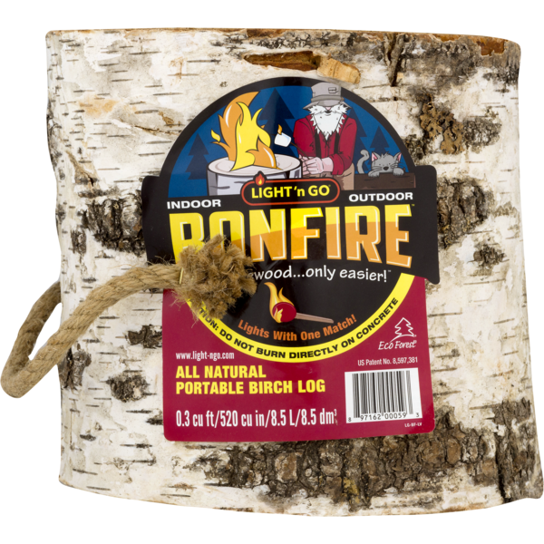 Light N Go Bonfire All Natural Portable Birch Log 83 Oz From