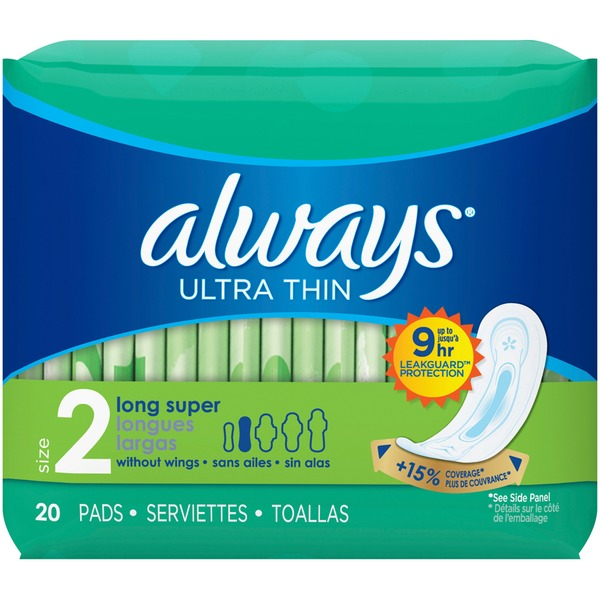 Always Ultra Thin Size 2 Super Pads Without Wings (20 ct) from CVS