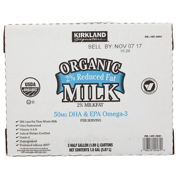 Kirkland Signature Organic Reduced Fat Milk, 3 x 64 oz (3 ct