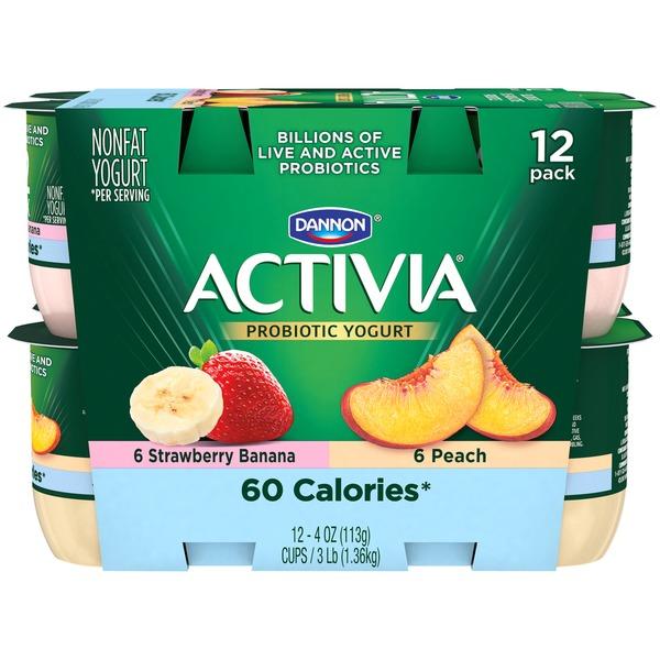 Activia Light Blended Nonfat Strawberry Banana & Peach Dannon Activia Light Strawberry Banana & Peach Blended
