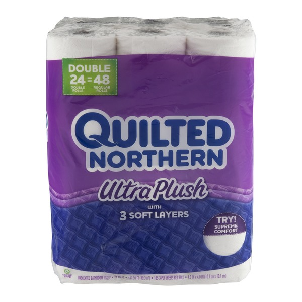 Quilted Northern Ultra Plush Toilet Paper 24 Double Rolls Bath