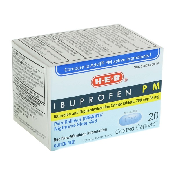 H E B Ibuprofen Pm Pain Reliever Nighttime Sleep Aid Coated
