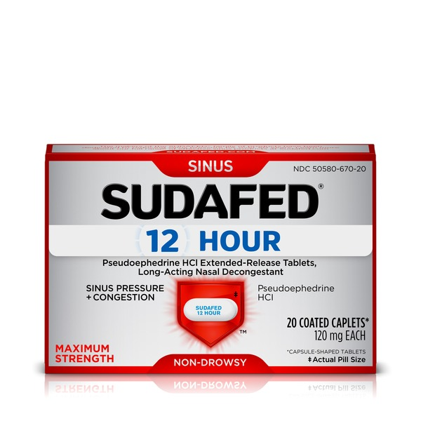 Sudafed 12 Hour Caplets (20 ct) from CVS Pharmacy® - Instacart