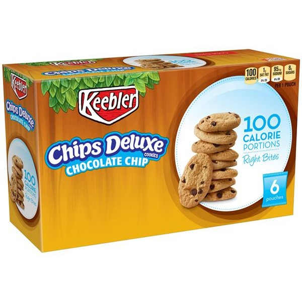 keebler 100 calorie right bites chips deluxe chocolate chip cookies