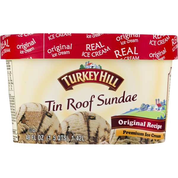 Turkey Hill Original Recipe Premium Ice Cream Tin Roof Sundae