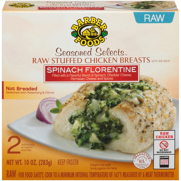 Barber Foods Seasoned Selects Spinach Florentine Raw Stuffed Chicken