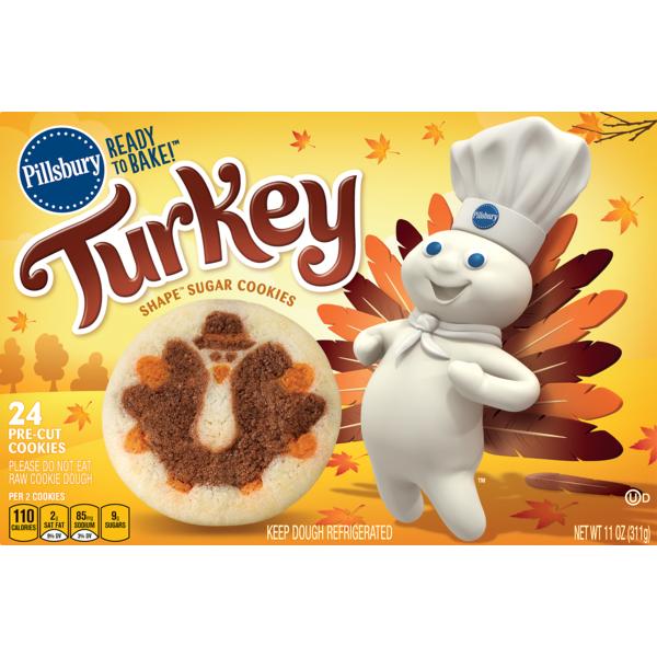 Pillsbury Ready To Bake Turkey Shape Sugar Cookies 11 Oz From
