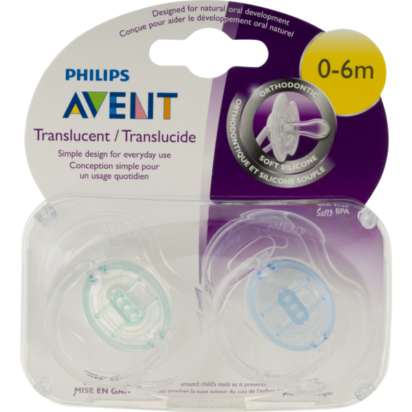 Philips Avent Translucent Pacifiers 6-18m Boy