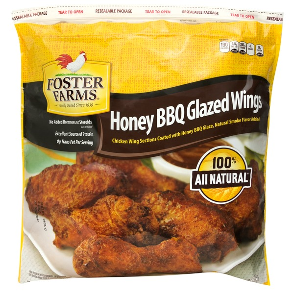 Foster Farms Chicken Wing Sections, Honey Bbq Glazed, Bag