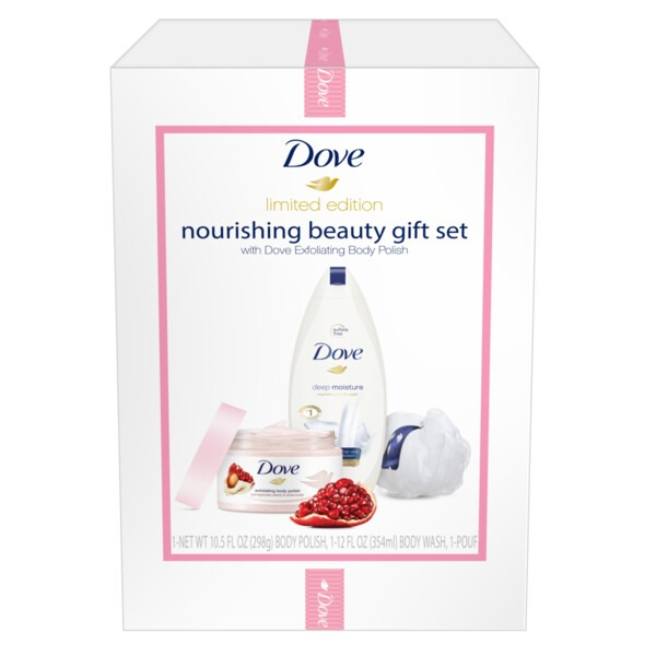 Dove Exfoliating Body Polish And Moisturizing Body Wash With Free Body Pouf Pomegranate Seeds Shea Butter And Deep Moisture 3 Ct Instacart