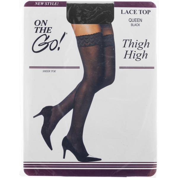 c553db52d8b1b On the Go! Thigh High Lace Top Hose Queen Black (1 pr) from Giant ...