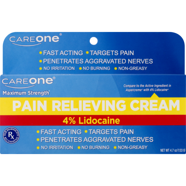 CareOne Pain Relieving Cream 4% Lidocaine (4 7 oz) from