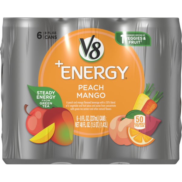 V8 V-Fusion + Energy Peach Mango Vegetable & Fruit Juice (8 fl oz
