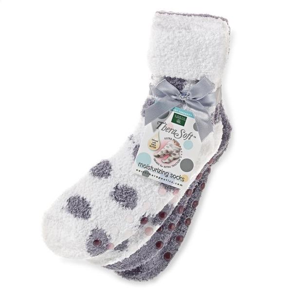 Earth Therapeutics 2-pk Dotted Shea Butter Thera-Soft Socks Lavender Polka Dot