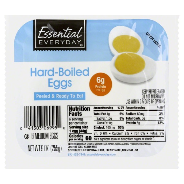 Essential Everyday Eggs, Hard-Boiled, Medium (6 ct) from Cub