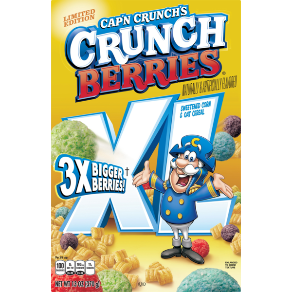 Cap'n Crunch 's Crunchberries XL Sweetened Corn & Oat Cereal 13 Ounce Paper