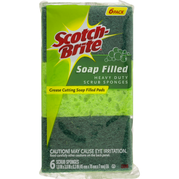 Scotch-Brite Soap Filled Heavy Duty Scrub Sponges (6 ct
