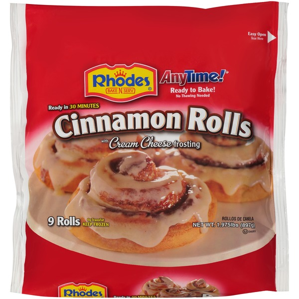 Rhodes Anytime With Cream Cheese Frosting Cinnamon Rolls 1975 Lb