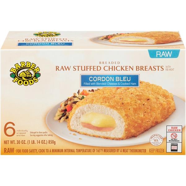 Barber Foods Cordon Bleu Raw Stuffed Chicken Breasts From Stop