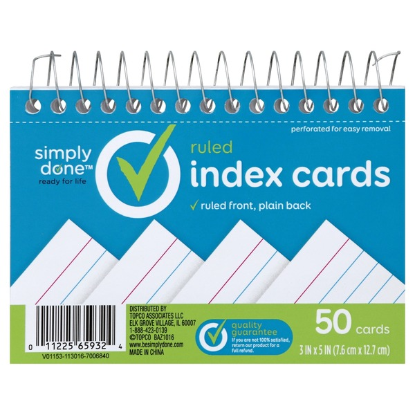 Simply Done Ruled Index Cards (50 each) from Big Y World Class